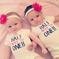 Personalized Half Birthday Shirt - Half Way To One - Baby All in Outfit / Bodysuit - Twin outfit - matching birthday - 6 months Happy Half Birthday, Twin Birthday, Birthday Shirts, Birthday Ideas, Baby All In One, Second Baby, First Baby, Twin Baby Girls, Twin Babies
