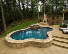 Great Ways to build Semi Inground Jacuzzi Swimming Pool — House Improvements Small Inground Swimming Pools, Small Backyard Pools, Backyard Pool Designs, Small Pools, Swimming Pool Designs, Pool Decks, Pool Landscaping, Small Backyards, Backyard Ideas
