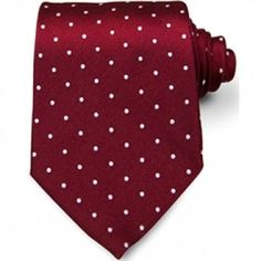 Bordeaux Red Silk Tie with White Dots