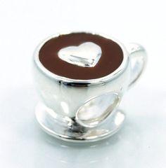 Coffee w/ LOVE Sterling Silver Bead Charm w/ Enamel, fits Biagi, Trollbeads, Chamilia, Charmed Memories Bracelets #SterlingSilverCharms