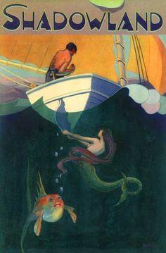 1922 'Shadowland' Mermaid Mischief Art Deco Fishing Sailboat Sport Poster