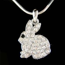 w Swarovski Crystal Holiday ~Easter Bunny~ Rabbit Hase Jewelry Pendant Necklace