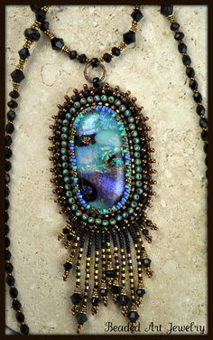 Bead Embroidered Beaded Beadwork Dichroic by beadedartjewelry, $148.00