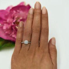 3/4 ctw Square Halo Ring #haloengagementring