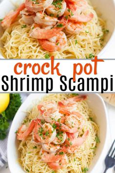 Crock Pot Shrimp Scampi Recipe is a simple and tasty recipe that can be prepared with little effort. Lemon, Parmesan cheese and more make this meal amazing. #eatingonadime #shrimpscampi #shrimpscampirecipe #crockpotrecipes #easycrockpotrecipes #shrimprecipes #easyshrimprecipes #seafood