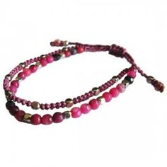 pink polyphony bracelet Thai Village #fairtrade #Thailand #handmade #Thaivillageinc