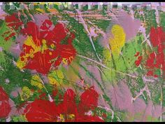 114_Red Flowesr acrylic painting & monotype (3/3) / Fun and easy art work (#199A3) - YouTube Easy Art, Simple Art, Using Acrylic Paint, Printmaking, Art Work, Abstract, Youtube, Red, Painting