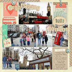Layout to feature multiple photos london sights for Design by Dani (travel england digital scrapbook page) with Hello World kit Travel Journal Scrapbook, Paper Bag Scrapbook, Vacation Scrapbook, Scrapbook Supplies, Travel Journals, Travel Books, Hello London, 6 Photos, Scrapbook Page Layouts