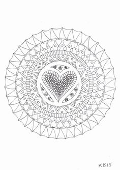 Adult colouring page - Hearts by KafsKrafts on Etsy