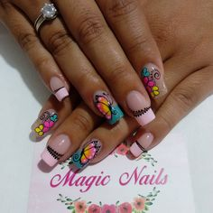 New Nail Art, Cool Nail Art, Magic Nails, Butterfly Nail Art, Best Acrylic Nails, Coffin Nails, Summer Nails, Pedicure, Nail Designs