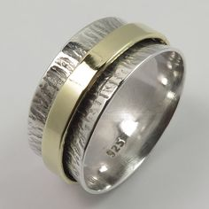 925 Solid Sterling Silver TWOTONE Golden Hammered Spinner 9mm Band Ring All Size #SunriseJewellers #Fashion