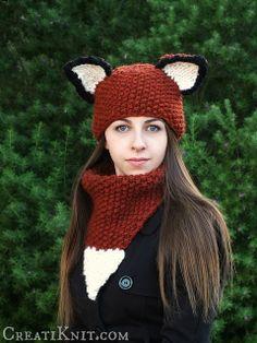 Ravelry: Teen/Adult Fox Hat & Cowl Set pattern by Creati Knit