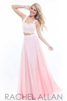 Two-piece gown with floral design on bodice and a fulll chiffon skirt Rachel Allen Prom Dress style 6832