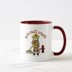 Blonde Firefighter Girl Mug