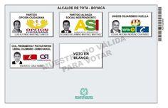 Tarjetón de elección para Alcalde de Tota