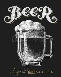 Ilustración vectorial de jarro de cerveza tiza en la pizarra. Eps10...