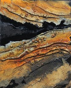 Black Gold, 180122 by Carol Nelson mixed media ~ 10 inches x 8 inches #abstractart