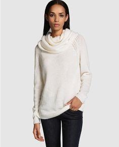 Jersey de mujer Tintoretto blanco con cuello cisne