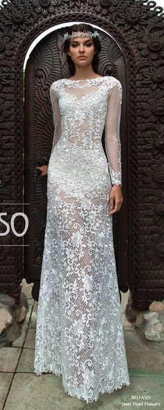 Long Sleeve Lace Wedding Dress #weddings #weddingdresses #bridaldresses #weddingideas ❤️ http://www.deerpearlflowers.com/long-sleeves-wedding-dresses-from-belfaso/