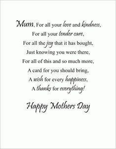Mothers Day Poems Mom Cards Verses