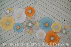 Travel Inspired Set of Eleven 11 Paper Rosettes by ThePapierStudio