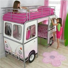Girls van bed
