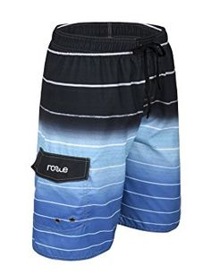 8cec00f94daf Nonwe Men s Beachwear Quick Dry Striped Beach Shorts Blue 28