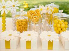 Decoração para festa amarelo e branco