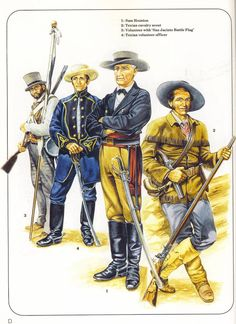 cavalry with 'San Jacinto Battle volunteer officer. Mexican American War, American Civil War, American History, Sam Houston, Military Art, Military History, Us Army Uniforms, Native American Models, Texas Revolution