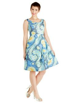 New Modcloth Down to a Fine Art Dress in Night - Size Small - - hem is loose - (sc) - 75 hem is loose Unique Dresses, Pretty Dresses, Dresses For Work, Summer Dresses, Retro Vintage Dresses, Vintage Inspired Dresses, Art Teacher Outfits, Teacher Dresses, Teacher Fashion