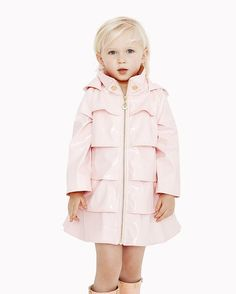 Pretty in Pink Patent! This waterproof perfect pink rain coat will be her favorite accessory for those spring showers! Perfect Pink, Pretty In Pink, Opera Coat, Spring Shower, Oil Water, Rain Wear, Petite Fashion, Kids Fashion, Raincoat