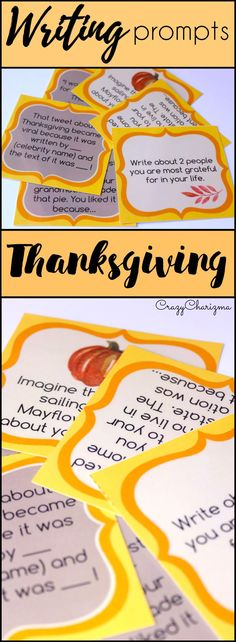 Celebrate Thanksgiving in you classroom and engage students with writing. These writing prompts are easy to prepare and you'll be able to use them every year! How fun!   The task cards can be used as Writing Centers in middle school. Go ahead and use them with adults during ESL lessons as well. | CrazyCharizma @ https://www.teacherspayteachers.com/Store/Crazycharizma