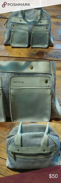 Matt & Nat VEGAN SHOULDER BAG Gorgeous sea foam green and grey Matt & Nat Vegan handbag. Bowling bag style, with 9 in strap drop. 2. Small pockets on front, large main zippered pocket with multiple inside pocket. Super cute plaid lining. matt & nat Bags Shoulder Bags