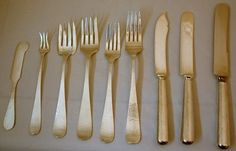 A Large Sterling Dinner Luncheon Flatware Set English Tip Pattern Kalo C1920 - Stunning