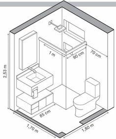Banheiro 2 – 3,06 m²: Ela manteve o layout para não mexer na hidráulica.