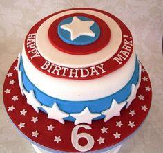 Ideas y Moldes de Tortas del Capitán América: Imágenes de Pasteles Infantiles del Capitán América