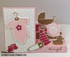 Caring for Stamps: Mix 'n Up! Something for Baby~side step card with baby stuff on the steps ... Stampin' Up!