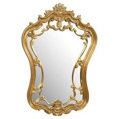 "Rococo-style wall mirror with an antique gold finish.   Product: Wall mirrorConstruction Material: Resin and mirrored glass Color: Antique gold Dimensions: 35"" H x 24"" W x 3"" D"