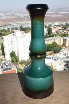 Old Vintage Marvelous Kibbutz Kfar Menachem Israel Ceramic Vase 60's Art Deco 26