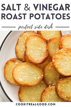 These Crispy Salt and Vinegar Potatoes will be your new addiction! White vinegar adds a lovely zing to these roast potatoes, and they have a delicious crunch on the outside.