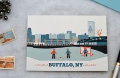 Buffalo, NY Marina Hockey Buffalo Skyline Cards, Christmas Cards, Holiday Cards