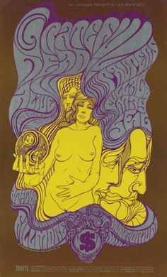 Psychedelic Music Poster, 1966-1968, Grateful Dead, Filmore.