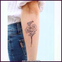Forget me not, lavender & buttercup bouquet 💐 tattoos tattoo Hand Tattoos, Cute Tattoos, Black Tattoos, Small Tattoos, Sleeve Tattoos, Tattoos For Guys, Flower Bouquet Tattoo, Flower Tattoo On Side, Flower Tattoo Shoulder