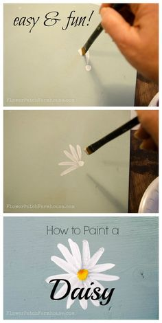 How to Paint a Simple Daisy, one stroke at a time, with video!, FlowerPatchFarmhouse.com #canvaspaintingtutorial