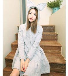 Cute Rabbit Ear Cap Light Gray Fleece Dress
