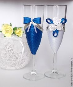 Свадебные аксессуары ручной работы. Ярмарка Мастеров - ручная работа. Купить Свадебные бокалы. Handmade. Разноцветный, бокалы для шампанского