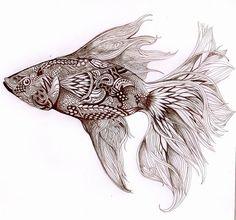 zentangle fish | Zentangle Betta Fish Betta fish by azanaya.deviantart.com on @ ...