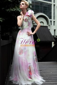 The designer dress for evening party, wedding party, prom or homecoming features floral one shoulder, sweetheart neckline, corset waist, the skirt are beautiful Chinese painting. transparent tulle overlay the skirt and sexy zipper up open back. ( Note:Only dress included in original sell, veil, necklace,streamer and other accessories not included ) $188.00