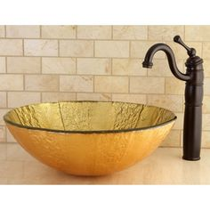 Yellow Tempered Glass Vessel Bathroom Sink | Overstock™ Shopping - Great Deals on Bathroom Sinks
