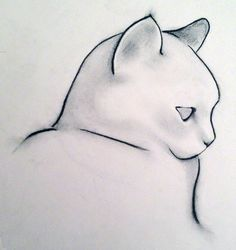 Saatchi Online Artist: Kellas Campbell; Charcoal, 2012, Drawing Minimalist Cat